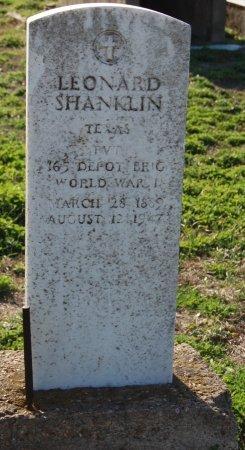 SHANKLIN (VETERAN WWI), LEONARD (CLOSE UP) - Galveston County, Texas | LEONARD (CLOSE UP) SHANKLIN (VETERAN WWI) - Texas Gravestone Photos