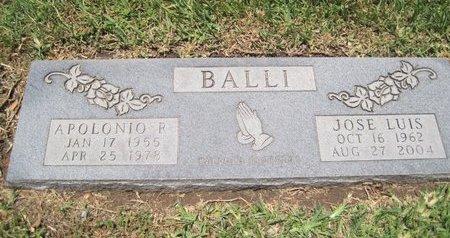 BALLI, APOLONIO R - Hidalgo County, Texas | APOLONIO R BALLI - Texas Gravestone Photos