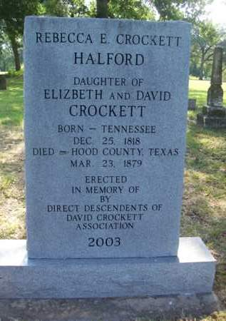 CROCKETT HALFORD, REBECCA E. - Hood County, Texas | REBECCA E. CROCKETT HALFORD - Texas Gravestone Photos
