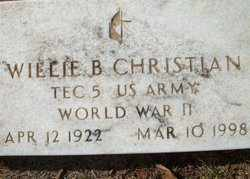 CHRISTIAN (VETERAN WWII), WILLIE B - Houston County, Texas | WILLIE B CHRISTIAN (VETERAN WWII) - Texas Gravestone Photos