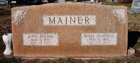 MAINER, JOHN RHEIMS - Houston County, Texas | JOHN RHEIMS MAINER - Texas Gravestone Photos