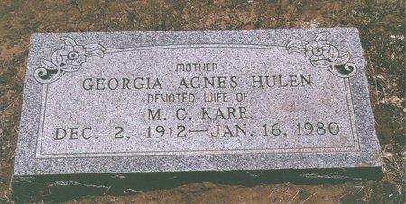 HULEN KARR, GEORGIA AGNES - Johnson County, Texas | GEORGIA AGNES HULEN KARR - Texas Gravestone Photos