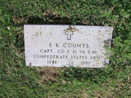 COUNTS (VETERAN CSA), E K - Kimble County, Texas | E K COUNTS (VETERAN CSA) - Texas Gravestone Photos