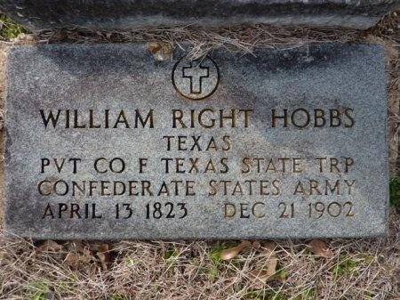 HOBBS (VETERAN CSA), WILLIAM RIGHT - Lee County, Texas   WILLIAM RIGHT HOBBS (VETERAN CSA) - Texas Gravestone Photos