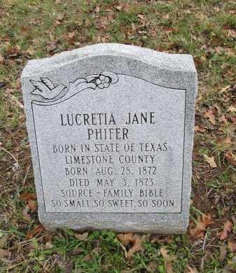 PHIFER, LUCRETIA JANE - Limestone County, Texas   LUCRETIA JANE PHIFER - Texas Gravestone Photos
