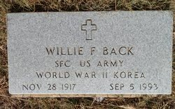 BACK (VETERAN 2 WARSI), WILLIE F. - Lipscomb County, Texas   WILLIE F. BACK (VETERAN 2 WARSI) - Texas Gravestone Photos