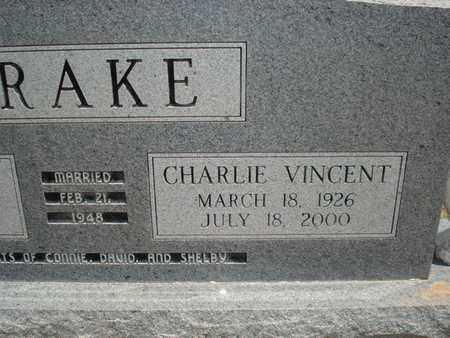 BRAKE (VETERAN WWII), CHARLIE VINCENT  (CLOSE UP) - Lubbock County, Texas | CHARLIE VINCENT  (CLOSE UP) BRAKE (VETERAN WWII) - Texas Gravestone Photos