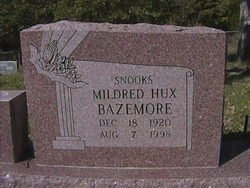 "HUX BAZEMORE, MILDRED FLORENCE ""SNOOKS"" - Milam County, Texas 