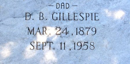 GILLESPIE, D B - Nolan County, Texas | D B GILLESPIE - Texas Gravestone Photos