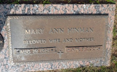 MULLINS HINMAN, MARY ANN - Parker County, Texas   MARY ANN MULLINS HINMAN - Texas Gravestone Photos