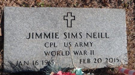 NEILL (VETERAN WWII), JIMMIE SIMS - Parker County, Texas | JIMMIE SIMS NEILL (VETERAN WWII) - Texas Gravestone Photos
