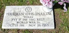 SNAILUM (VETERAN WWII), THURMAN OTIS - Parker County, Texas | THURMAN OTIS SNAILUM (VETERAN WWII) - Texas Gravestone Photos