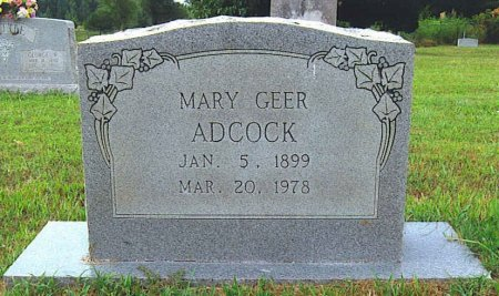 GEER ADCOCK, MARY - Red River County, Texas | MARY GEER ADCOCK - Texas Gravestone Photos
