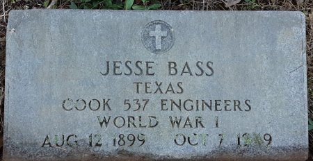 BASS (VETERAN WWI), JESSE - Red River County, Texas | JESSE BASS (VETERAN WWI) - Texas Gravestone Photos
