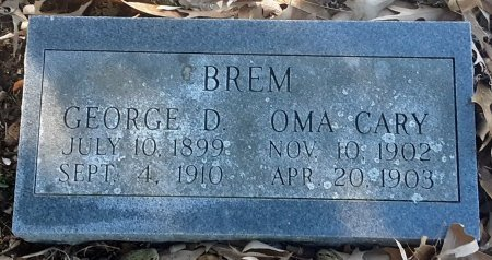 BREM, OMA CARY - Red River County, Texas | OMA CARY BREM - Texas Gravestone Photos