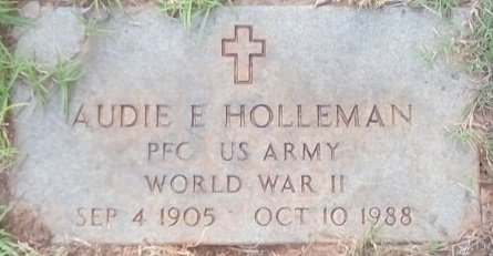 HOLLEMAN (VETERAN WWII), AUDIE - Rusk County, Texas | AUDIE HOLLEMAN (VETERAN WWII) - Texas Gravestone Photos