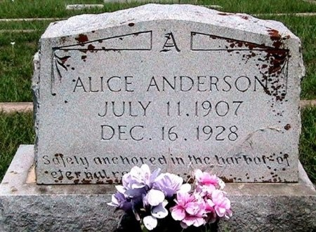 ANDERSON, ALICE - Travis County, Texas | ALICE ANDERSON - Texas Gravestone Photos