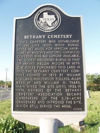 *HISTORICAL MARKER, BETHANY CEMETERY - Travis County, Texas   BETHANY CEMETERY *HISTORICAL MARKER - Texas Gravestone Photos