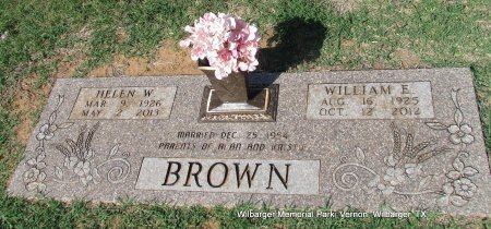 BROWN, WILLIAM ERNEST - Wilbarger County, Texas | WILLIAM ERNEST BROWN - Texas Gravestone Photos