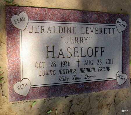 "HASELOFF, JERALDINE ""JERRY"" - Wilbarger County, Texas   JERALDINE ""JERRY"" HASELOFF - Texas Gravestone Photos"