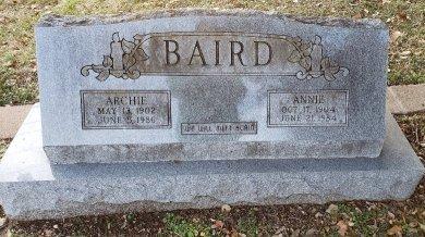 BAIRD, ANNIE - Williamson County, Texas | ANNIE BAIRD - Texas Gravestone Photos