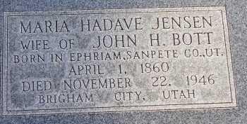 BOTT, MARIA HADAVE - Box Elder County, Utah   MARIA HADAVE BOTT - Utah Gravestone Photos