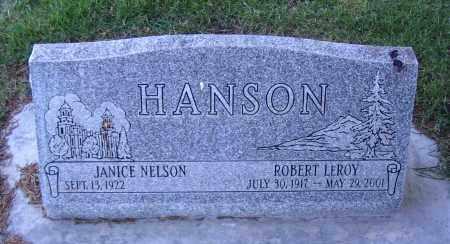 HANSON, ROBERT LEROY - Cache County, Utah | ROBERT LEROY HANSON - Utah Gravestone Photos
