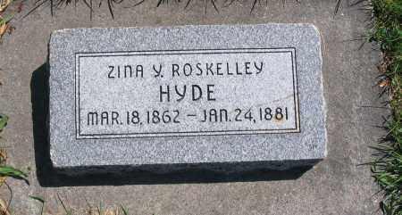 HYDE, ZINA Y. - Cache County, Utah   ZINA Y. HYDE - Utah Gravestone Photos