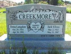 CREEKMORE (WWII), JACK ELLOUS - Duchesne County, Utah | JACK ELLOUS CREEKMORE (WWII) - Utah Gravestone Photos
