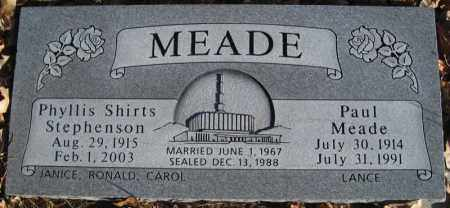 MEADE, PAUL ARNOLD - Duchesne County, Utah | PAUL ARNOLD MEADE - Utah Gravestone Photos