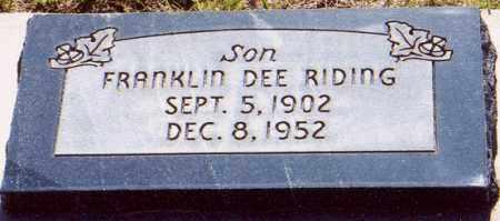 RIDING, FRANKLIN DEE - Garfield County, Utah   FRANKLIN DEE RIDING - Utah Gravestone Photos
