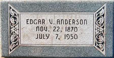 ANDERSON, EDGAR VICTOR - Salt Lake County, Utah | EDGAR VICTOR ANDERSON - Utah Gravestone Photos
