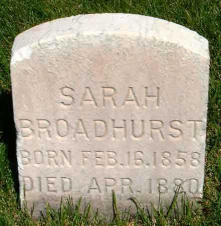 BROADHURST, SARAH - Salt Lake County, Utah | SARAH BROADHURST - Utah Gravestone Photos