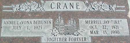 CRANE, MERRILL JAY - Salt Lake County, Utah   MERRILL JAY CRANE - Utah Gravestone Photos