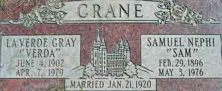 CRANE, SAMUEL NEPHI - Salt Lake County, Utah | SAMUEL NEPHI CRANE - Utah Gravestone Photos