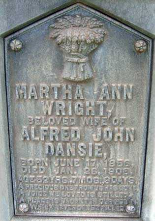 WRIGHT DANSIE, MARTHA ANN - Salt Lake County, Utah | MARTHA ANN WRIGHT DANSIE - Utah Gravestone Photos