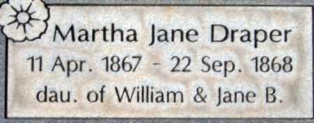 DRAPER, MARTHA JANE - Salt Lake County, Utah | MARTHA JANE DRAPER - Utah Gravestone Photos