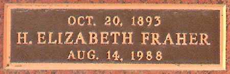 FRAHER, H. ELIZABETH - Salt Lake County, Utah | H. ELIZABETH FRAHER - Utah Gravestone Photos