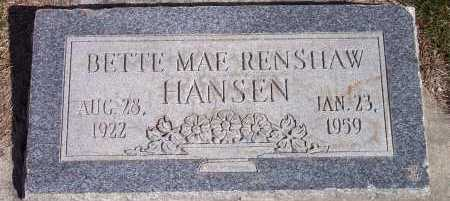 RENSHAW HANSEN, BETTE MAE - Salt Lake County, Utah | BETTE MAE RENSHAW HANSEN - Utah Gravestone Photos