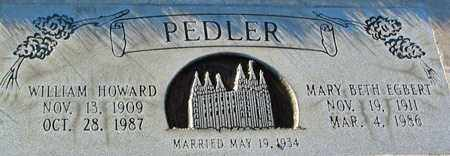 PEDLER, WILLIAM HOWARD - Salt Lake County, Utah | WILLIAM HOWARD PEDLER - Utah Gravestone Photos