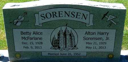 MCFARLANE SORENSEN, BETTY ALICE - Salt Lake County, Utah | BETTY ALICE MCFARLANE SORENSEN - Utah Gravestone Photos