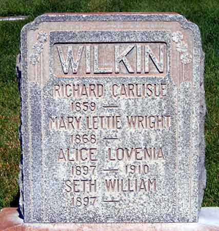 WRIGHT WILKIN, MARY LETTIE - Salt Lake County, Utah | MARY LETTIE WRIGHT WILKIN - Utah Gravestone Photos