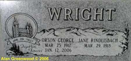 WRIGHT, JANE - Salt Lake County, Utah | JANE WRIGHT - Utah Gravestone Photos