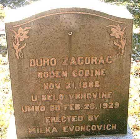 ZAGORAC, DURO - Salt Lake County, Utah | DURO ZAGORAC - Utah Gravestone Photos