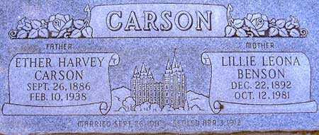 CARSON, LILLIE LEONA - Utah County, Utah | LILLIE LEONA CARSON - Utah Gravestone Photos