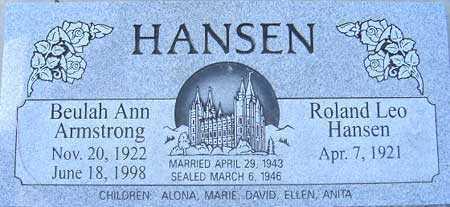 ARMSTRONG HANSEN, BEULAH ANN - Utah County, Utah | BEULAH ANN ARMSTRONG HANSEN - Utah Gravestone Photos