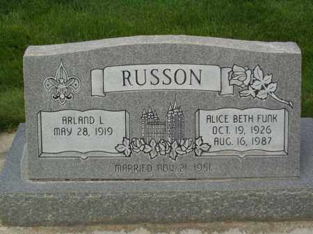 RUSSON, ALICE BETH - Utah County, Utah | ALICE BETH RUSSON - Utah Gravestone Photos