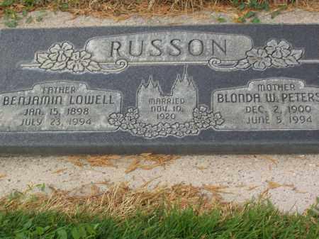 PETERS RUSSON, BLONDA W. - Utah County, Utah | BLONDA W. PETERS RUSSON - Utah Gravestone Photos