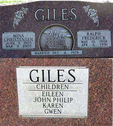 CHRISTENSEN GILES, MINA - Wasatch County, Utah | MINA CHRISTENSEN GILES - Utah Gravestone Photos