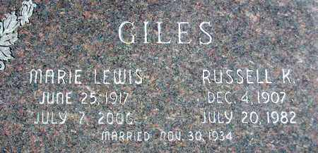 GILES, RUSSELL K. - Wasatch County, Utah | RUSSELL K. GILES - Utah Gravestone Photos